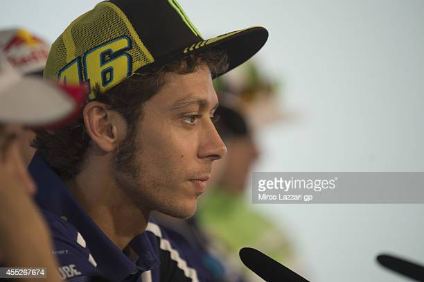 Valentino Rossi of Italy and Movistar Yamaha MotoGP looks on during the press conference preevent of the MotoGP of San Marino Previews at Misano...