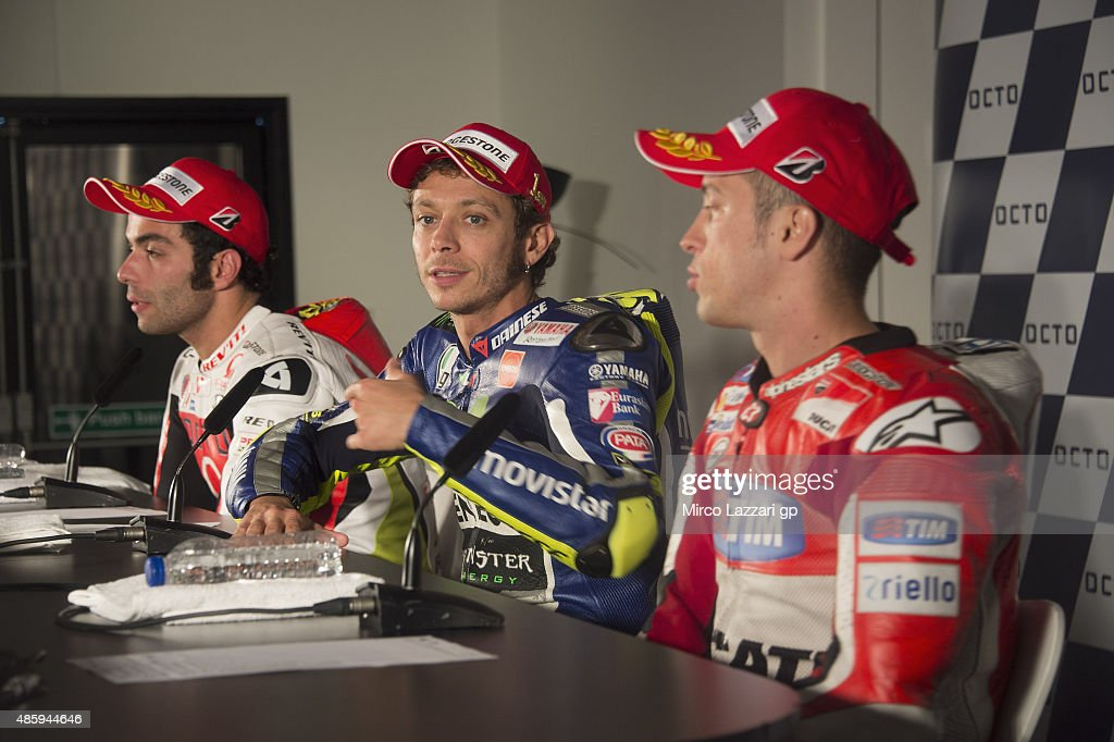 Valentino Rossi of Italy and Movistar Yamaha MotoGP looks on during the press conference at the end of the MotoGP race during the MotoGp Of Great Britain - Race at Silverstone Circuit on August 30, 2015 in Northampton, United Kingdom.
