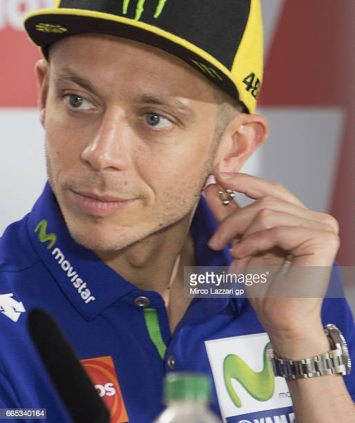 Valentino Rossi of Italy and Movistar Yamaha MotoGP looks on during the MotoGp of Argentina Previews on April 6 2017 in Rio Hondo Argentina