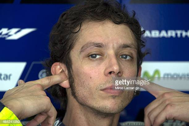 Valentino Rossi of Italy and Movistar Yamaha MotoGP looks on in box during the MotoGP Tests in Sepang Day One at Sepang Circuit on February 23 2015...