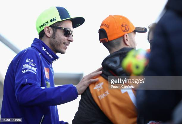 Valentino Rossi of Italy and Movistar Yamaha MotoGP meets fans in the pit paddock during previews ahead of the 2018 MotoGP of Australia at Phillip...