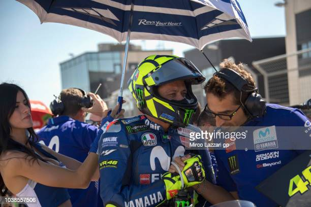 Valentino Rossi of Italy and Movistar Yamaha MotoGP prepares to start on the grid during the MotoGP race during the MotoGP of Aragon Race at...