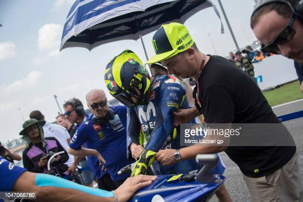 Valentino Rossi of Italy and Movistar Yamaha MotoGP prepares to start on the grid during the MotoGP race during the MotoGP Of Thailand Race on...