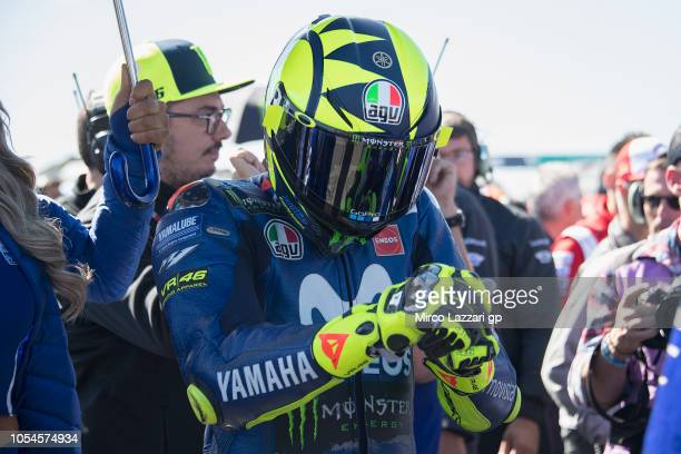 Valentino Rossi of Italy and Movistar Yamaha MotoGP prepares to start on the grid during the MotoGP race during the MotoGP of Australia Race during...