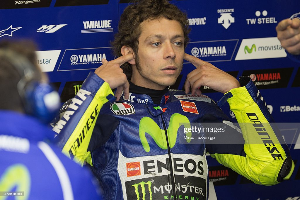 Valentino Rossi of Italy and Movistar Yamaha MotoGP prepares to start in box during the qualifying practice during the MotoGp of France - Qualifying at on May 16, 2015 in Le Mans, France.