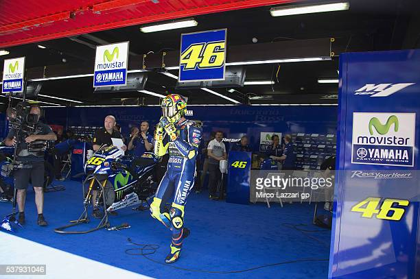 Valentino Rossi of Italy and Movistar Yamaha MotoGP prepares to start from box during the free practice during the MotoGp of Catalunya Free Practice...