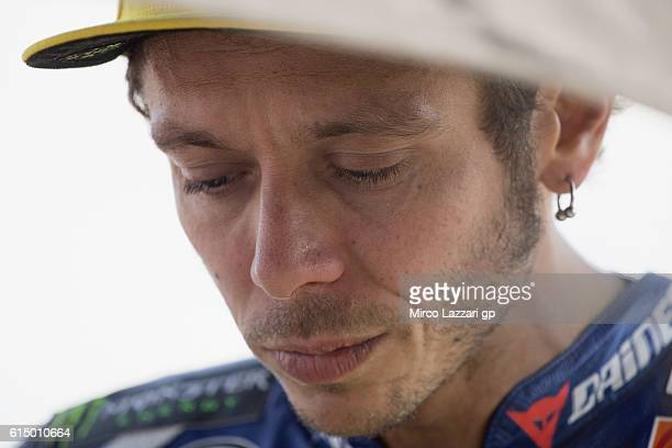 Valentino Rossi of Italy and Movistar Yamaha MotoGP prepares to start on the grid during the MotoGP race during the MotoGP of Japan Race at Twin Ring...