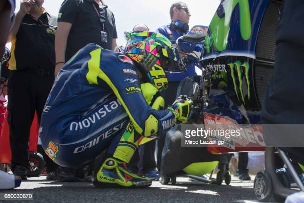Valentino Rossi of Italy and Movistar Yamaha MotoGP prepares to start on the grid during the MotoGP race during the MotoGp of Spain Race at Circuito...