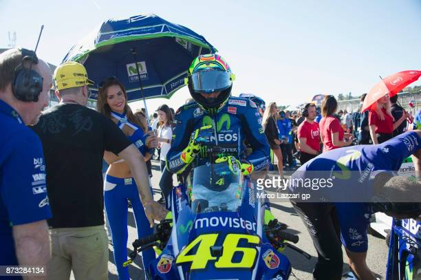 Valentino Rossi of Italy and Movistar Yamaha MotoGP prepares to start on the grid during the MotoGP race during the Comunitat Valenciana Grand Prix...