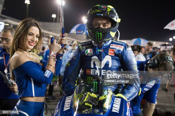 Valentino Rossi of Italy and Movistar Yamaha MotoGP prepares to start on the grid during the MotoGP race during the MotoGP of Qatar Race at Losail...