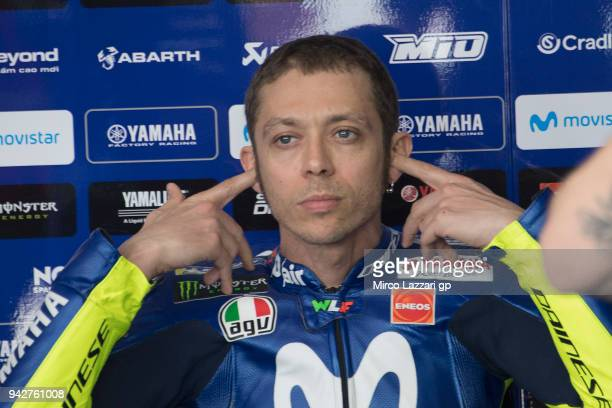 Valentino Rossi of Italy and Movistar Yamaha MotoGP prepares to start in box during the MotoGp of Argentina Free Practice on April 6 2018 in Rio...