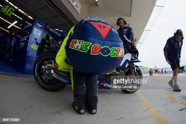 Valentino Rossi of Italy and Movistar Yamaha MotoGP prepares to start from box during the MotoGp Red Bull US Grand Prix of The Americas Free Practice...
