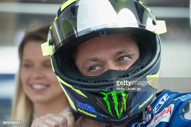 Valentino Rossi of Italy and Movistar Yamaha MotoGP prepares to start on the grid during the MotoGP race during the MotoGp of France Race on May 20...