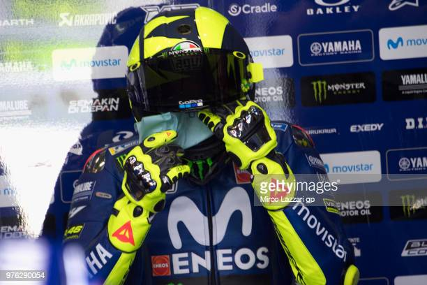 Valentino Rossi of Italy and Movistar Yamaha MotoGP prepares to start from box during the qualifying practice during the MotoGp of Catalunya...
