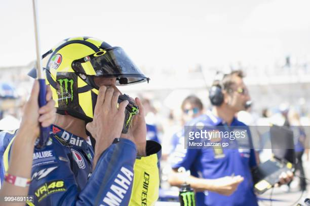 Valentino Rossi of Italy and Movistar Yamaha MotoGP prepares to start on the grid during the MotoGP race during the MotoGp of Germany Race at...