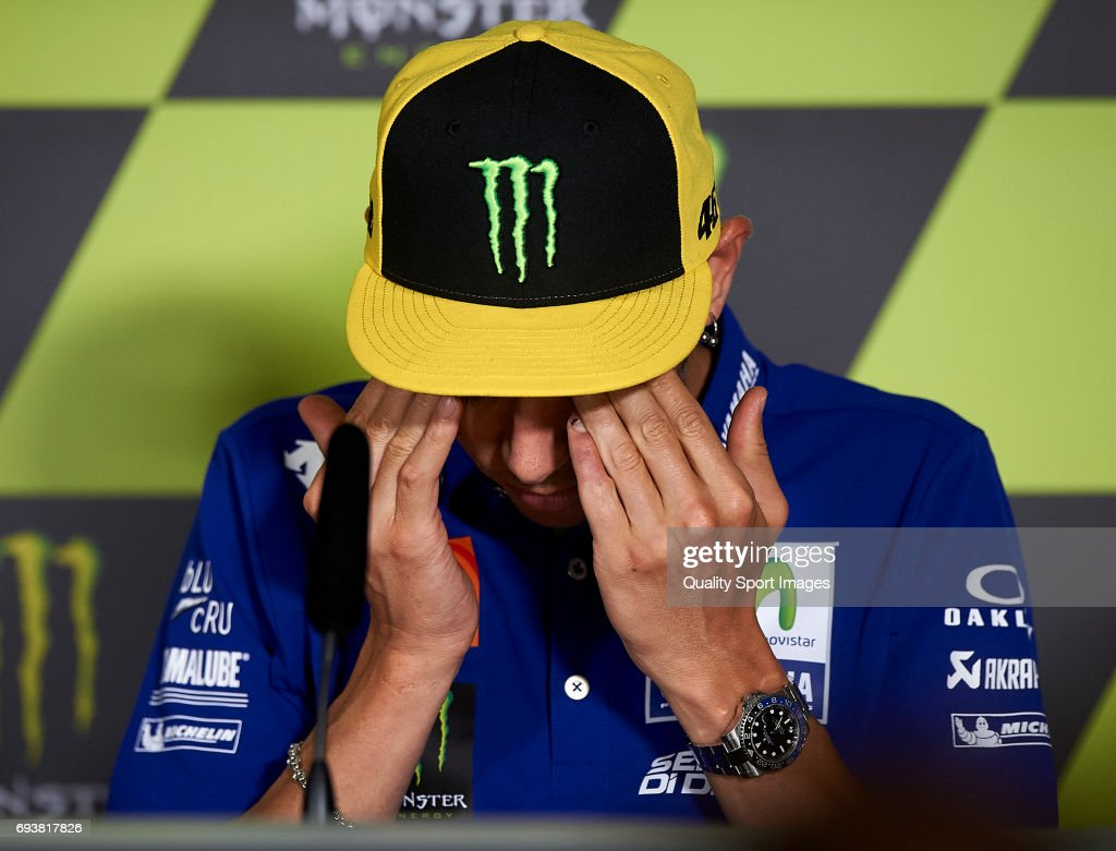 Valentino Rossi of Italy and Movistar Yamaha MotoGP reacts during the press conference pre-event during the MotoGp of Catalunya - Previews at Circuit de Catalunya on June 8, 2017 in Montmelo, Spain.