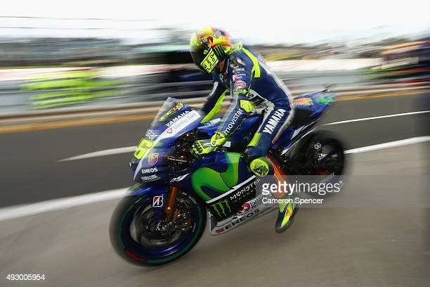Valentino Rossi of Italy and Movistar Yamaha MotoGP returns to his garage in pit lane during free practice for the 2015 MotoGP of Australia at...