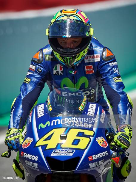 Valentino Rossi of Italy and Movistar Yamaha MotoGP rides after the Moto GP race at Circuit de Catalunya on June 11 2017 in Montmelo Spain