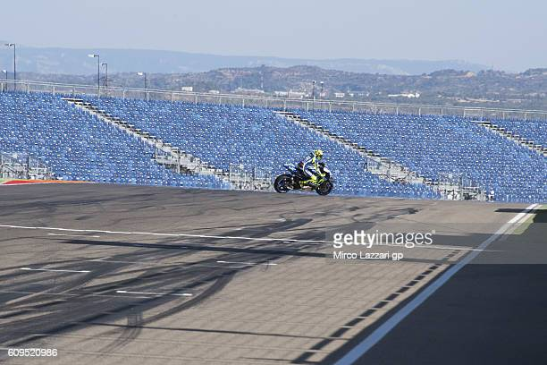 Valentino Rossi of Italy and Movistar Yamaha MotoGP rides bike on track during the preevent Movistar photo shooting during the MotoGP of Spain...