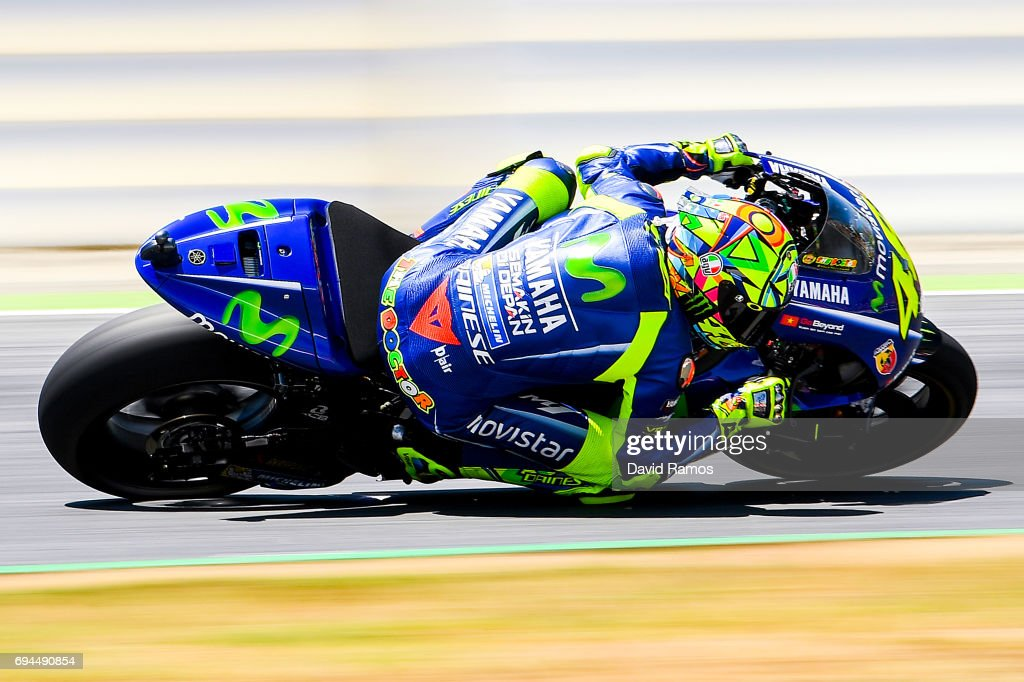 Valentino Rossi of Italy and Movistar Yamaha MotoGP rides during a free practice session ahead of the qualifying at Circuit de Catalunya on June 10, 2017 in Montmelo, Spain.