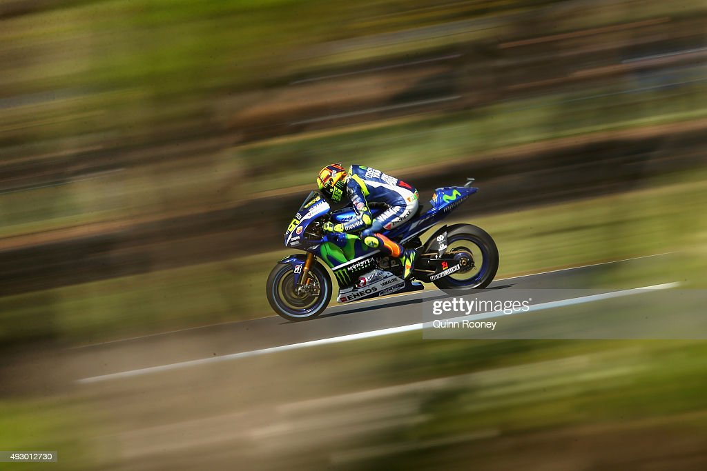 Valentino Rossi of Italy and Movistar Yamaha MotoGP rides during qualifying for the 2015 MotoGP of Australia at Phillip Island Grand Prix Circuit on October 17, 2015 in Phillip Island, Australia.