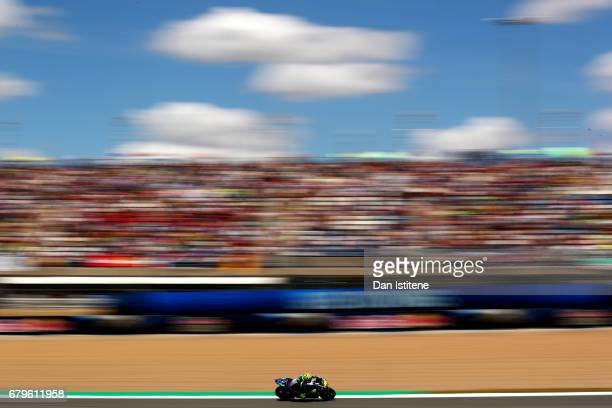 Valentino Rossi of Italy and Movistar Yamaha MotoGP rides during qualifying for the MotoGP of Spain at Circuito de Jerez on May 6, 2017 in Jerez de...