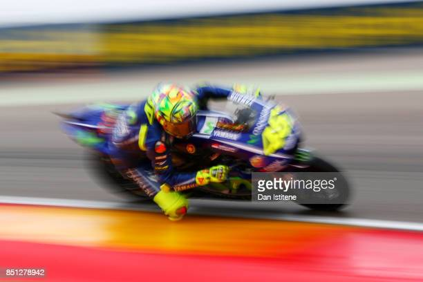 Valentino Rossi of Italy and Movistar Yamaha MotoGP rides during practice for the MotoGP of Aragon at Motorland Aragon Circuit on September 22 2017...