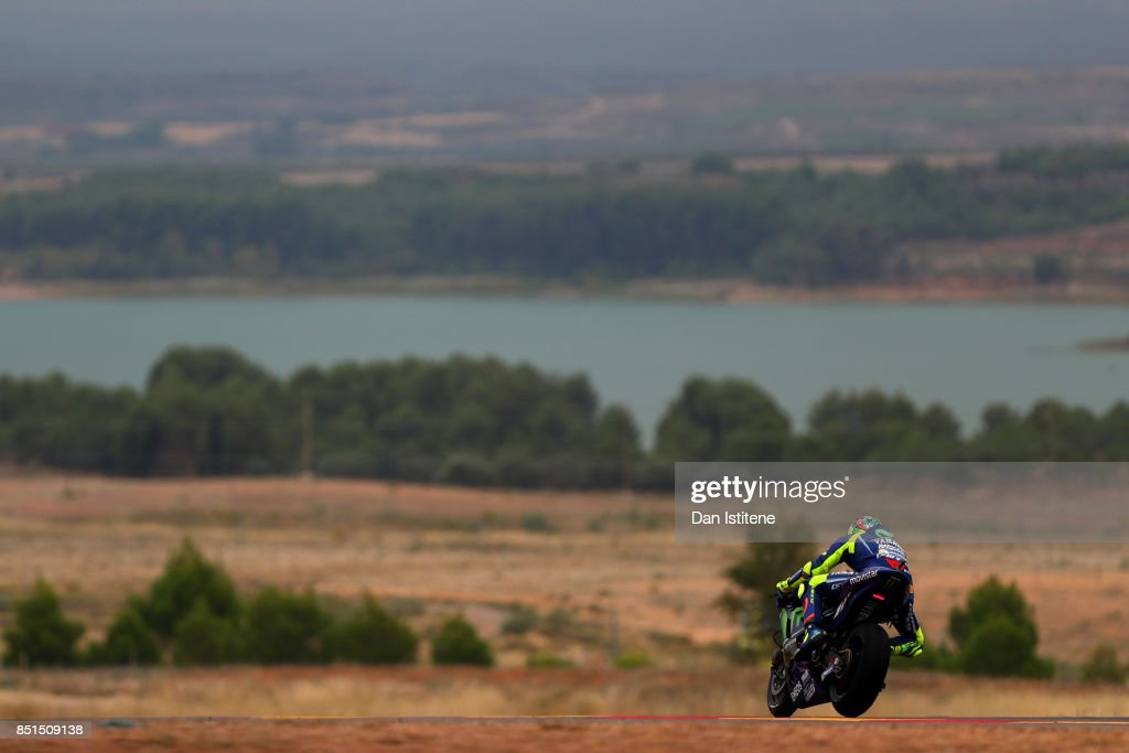 Valentino Rossi of Italy and Movistar Yamaha MotoGP rides during practice for the MotoGP of Aragon at Motorland Aragon Circuit on September 22, 2017 in Alcaniz, Spain.