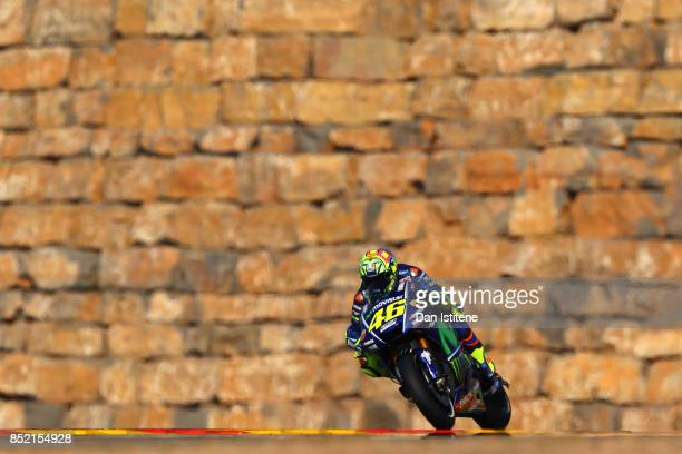 Valentino Rossi of Italy and Movistar Yamaha MotoGP rides during practice for the MotoGP of Aragon at Motorland Aragon Circuit on September 23 2017...