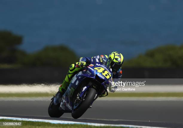 Valentino Rossi of Italy and Movistar Yamaha MotoGP rides during free practice for the 2018 MotoGP of Australia at Phillip Island Grand Prix Circuit...