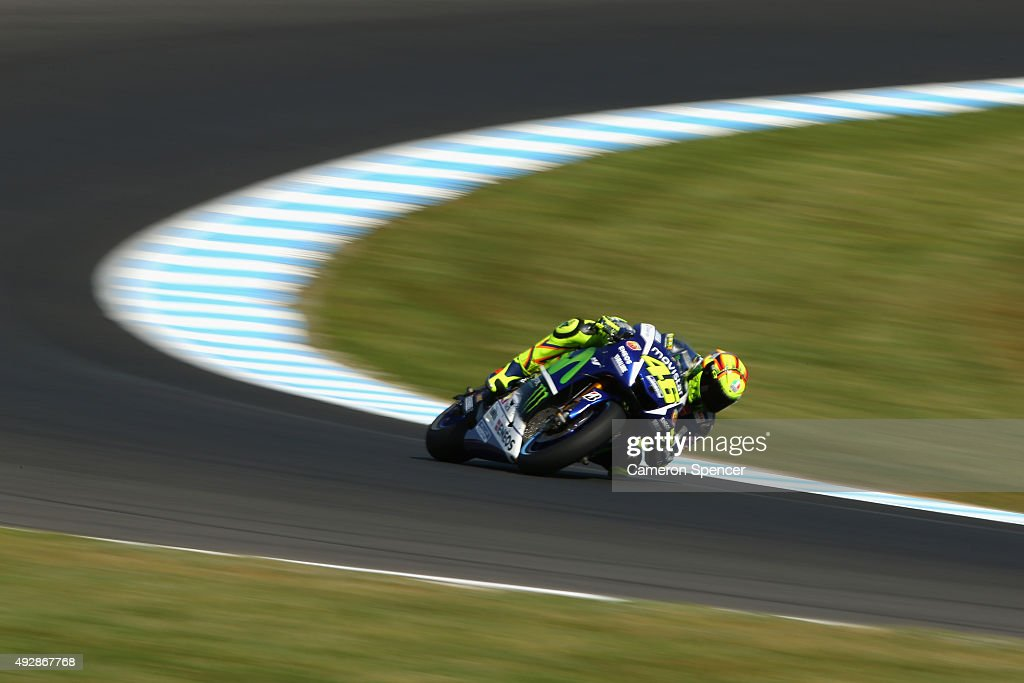 Valentino Rossi of Italy and Movistar Yamaha MotoGP rides during free practice for the 2015 MotoGP of Australia at Phillip Island Grand Prix Circuit on October 16, 2015 in Phillip Island, Australia.