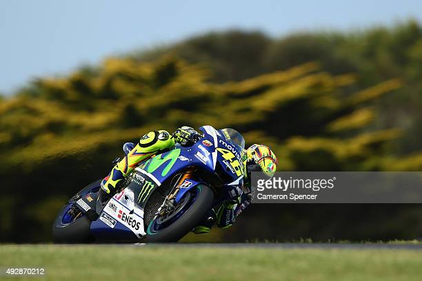 Valentino Rossi of Italy and Movistar Yamaha MotoGP rides during free practice for the 2015 MotoGP of Australia at Phillip Island Grand Prix Circuit...
