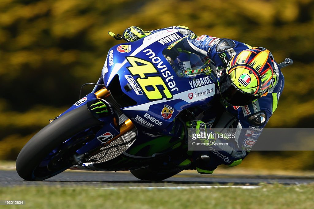 Valentino Rossi of Italy and Movistar Yamaha MotoGP rides during free practice for the 2015 MotoGP of Australia at Phillip Island Grand Prix Circuit on October 17, 2015 in Phillip Island, Australia.
