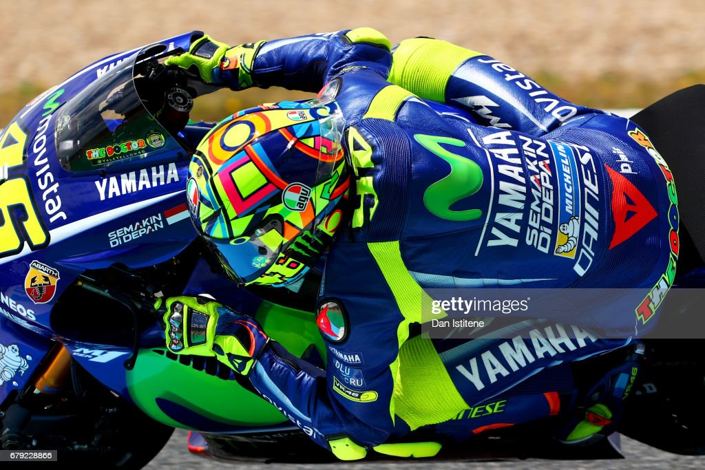 Valentino Rossi of Italy and Movistar Yamaha MotoGP rides during free practice for the MotoGP of Spain at Circuito de Jerez on May 5, 2017 in Jerez de la Frontera, Spain.