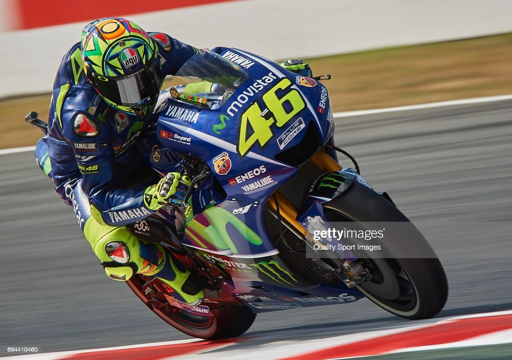 Valentino Rossi of Italy and Movistar Yamaha MotoGP rides during free practice for the MotoGP of Catalunya at Circuit de Catalunya on June 9, 2017 in Montmelo, Spain.