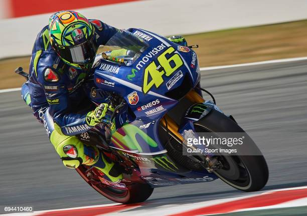 Valentino Rossi of Italy and Movistar Yamaha MotoGP rides during free practice for the MotoGP of Catalunya at Circuit de Catalunya on June 9 2017 in...