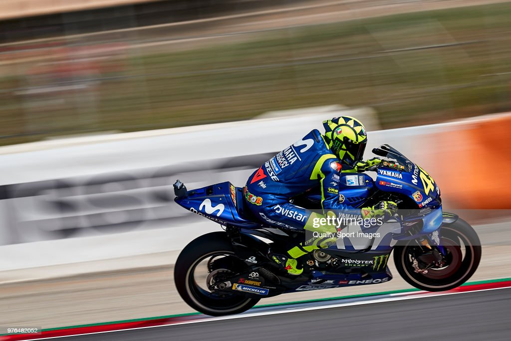 Valentino Rossi of Italy and Movistar Yamaha MotoGP rides during free practice for the MotoGP of Catalunya at Circuit de Catalunya on at Circuit de Catalunya on June 16, 2018 in Montmelo, Spain.