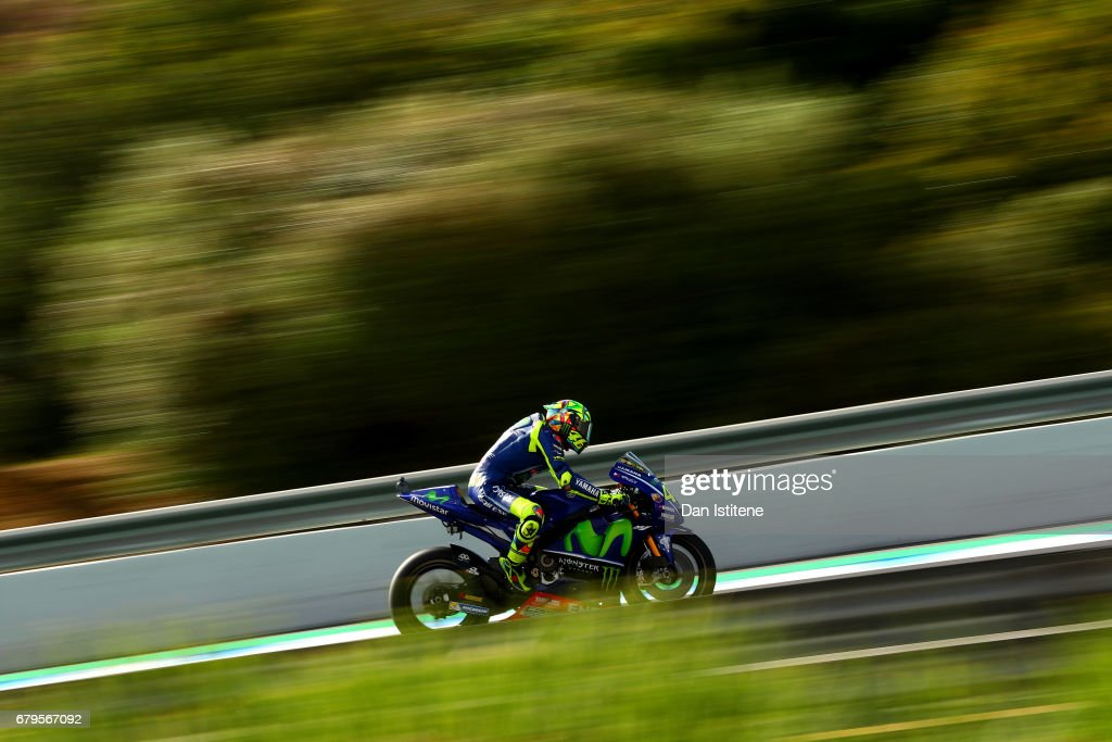 Valentino Rossi of Italy and Movistar Yamaha MotoGP rides during final practice for the MotoGP of Spain at Circuito de Jerez on May 6, 2017 in Jerez de la Frontera, Spain.