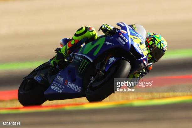 Valentino Rossi of Italy and Movistar Yamaha MotoGP rides during warmup before the MotoGP of Aragon at Motorland Aragon Circuit on September 24 2017...