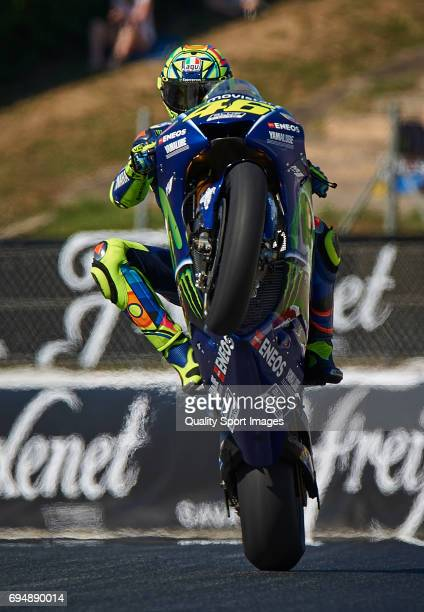 Valentino Rossi of Italy and Movistar Yamaha MotoGP rides during the warmup prior the Moto GP race at Circuit de Catalunya on June 11 2017 in...