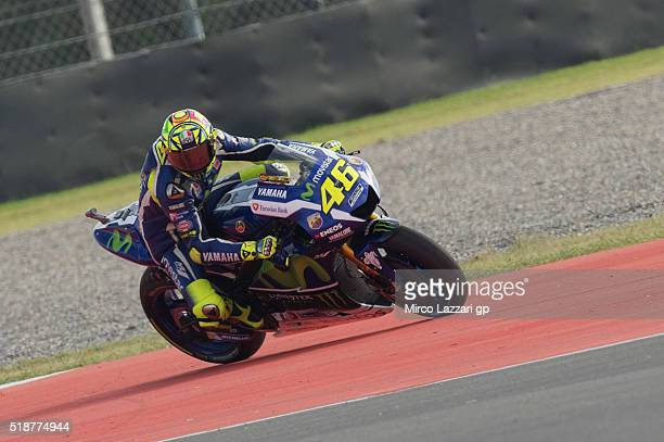 Valentino Rossi of Italy and Movistar Yamaha MotoGP rides out of track during the MotoGp of Argentina Qualifying at Termas De Rio Hondo Circuit on...