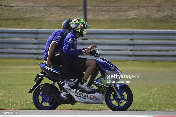 Valentino Rossi of Italy and Movistar Yamaha MotoGP rides the scooter on track during the MotoGP Netherlands Preview at on June 23 2016 in Assen...