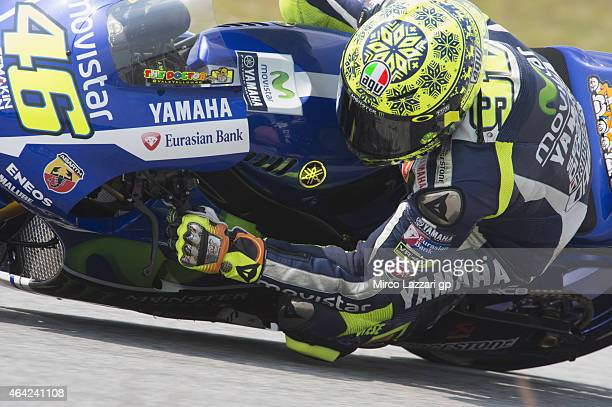 Valentino Rossi of Italy and Movistar Yamaha MotoGP rounds the bend during the MotoGP Tests in Sepang Day One at Sepang Circuit on February 23 2015...