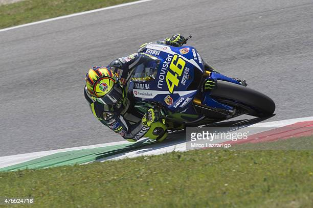 Valentino Rossi of Italy and Movistar Yamaha MotoGP rounds the bend during the Michelin tires test during the MotoGp Tests At Mugello at Mugello...