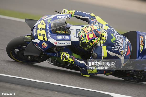 Valentino Rossi of Italy and Movistar Yamaha MotoGP rounds the bend during the MotoGP race during the MotoGp Of Great Britain Race at Silverstone...
