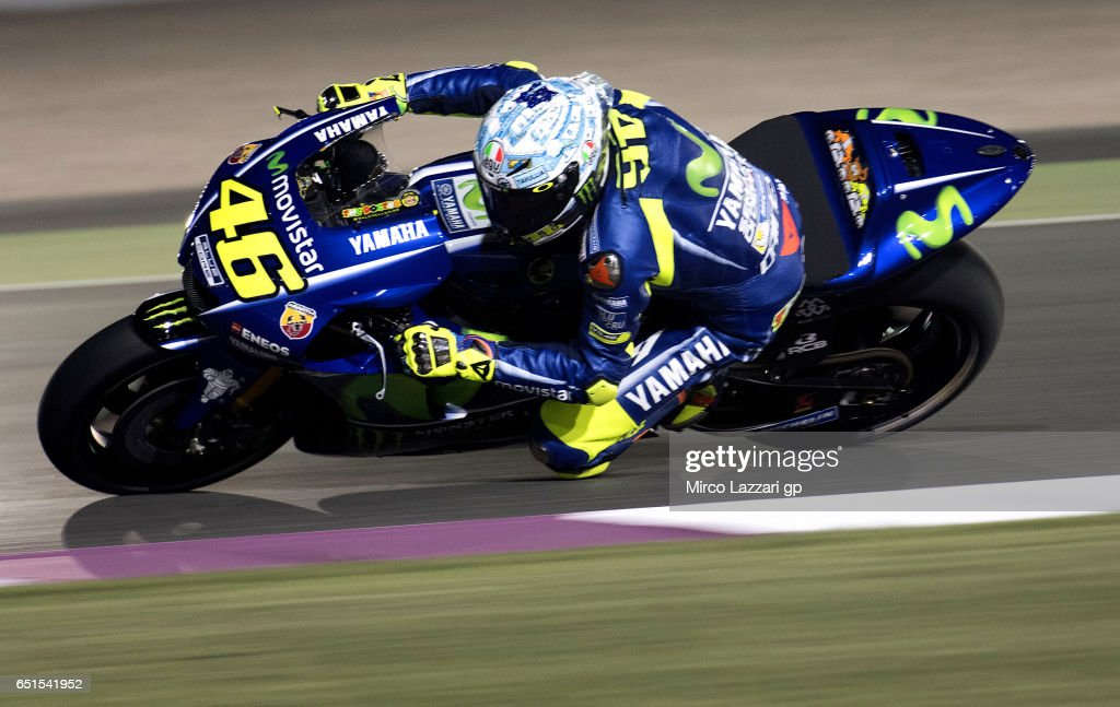 Valentino Rossi of Italy and Movistar Yamaha MotoGP rounds the bend during the MotoGP Tests In Losail at Losail Circuit on March 10, 2017 in Doha, Qatar.