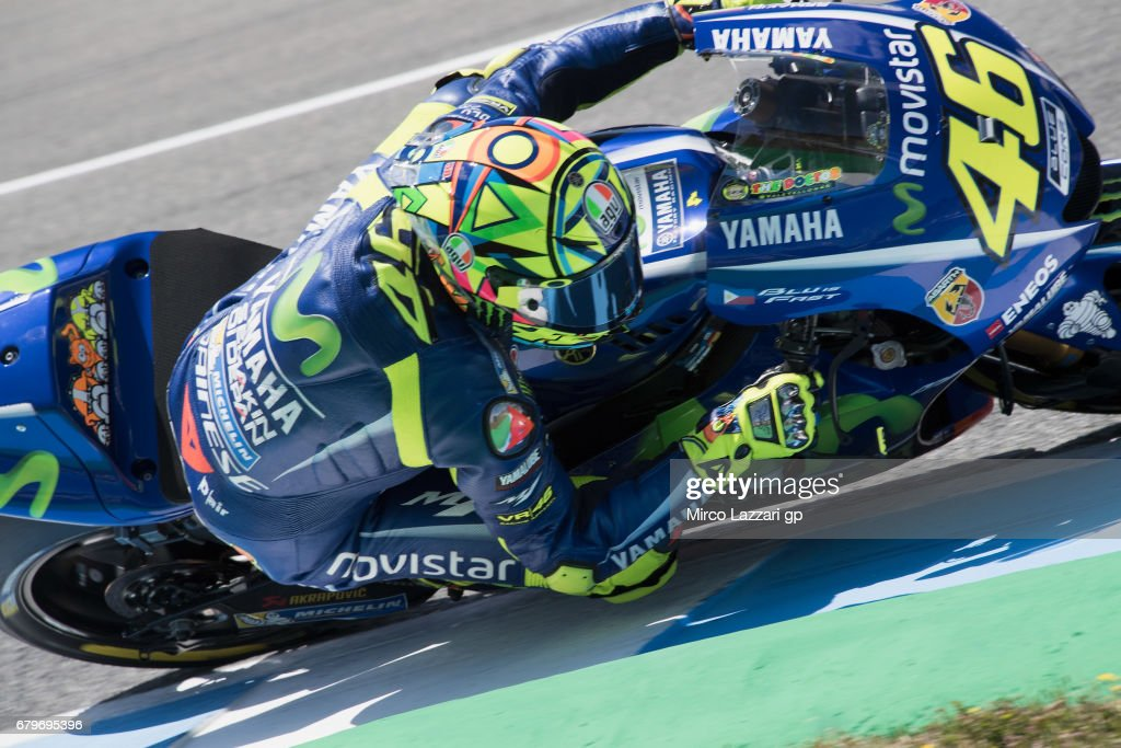 Valentino Rossi of Italy and Movistar Yamaha MotoGP rounds the bend during the MotoGp of Spain - Qualifying at Circuito de Jerez on May 6, 2017 in Jerez de la Frontera, Spain.