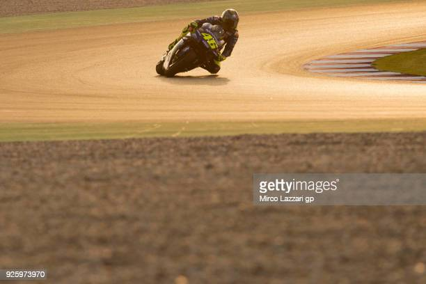Valentino Rossi of Italy and Movistar Yamaha MotoGP rounds the bend during the MotoGP Testing Qatar at Losail Circuit on March 1 2018 in Doha Qatar