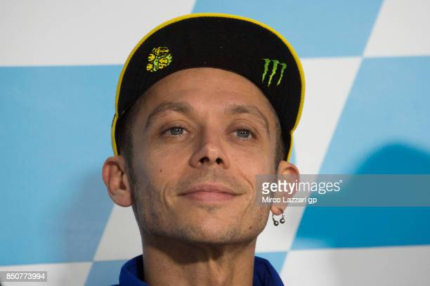 Valentino Rossi of Italy and Movistar Yamaha MotoGP smiles during the press conference during the MotoGP of Aragon Previews at Motorland Aragon...