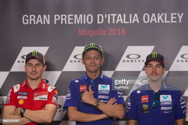 Valentino Rossi of Italy and Movistar Yamaha MotoGP smiles during the press conference at the end of the qualifying practice during the MotoGp of...
